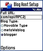 Blog selector on nokia 3650