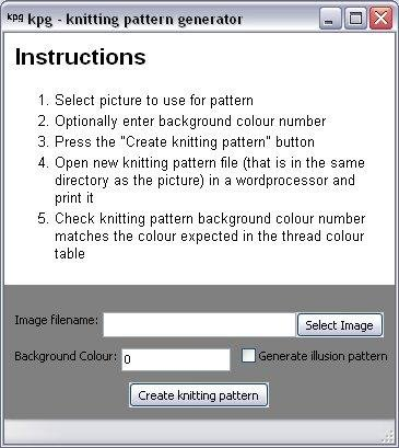Illusion Knitting Pattern Generator : kpg - Knitting Pattern Generator SourceForge.net