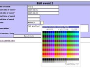 Event editable view with color select box openend