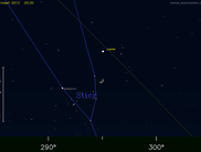 Conjunction between the Moon and Jupiter in the constellation of Taurus, computed using libTheSky