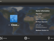 The menu, where the user can view game information and control the app