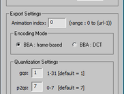 3ds Max MPEG-4 Exporter animation export settings window