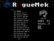 Mech selection screen for RogueMek