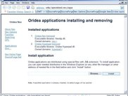 Oridea applications installing and removing page.