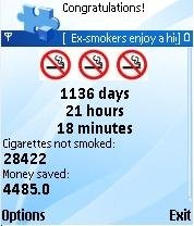 Status Screen: Number of cigarettes not smoked etc.