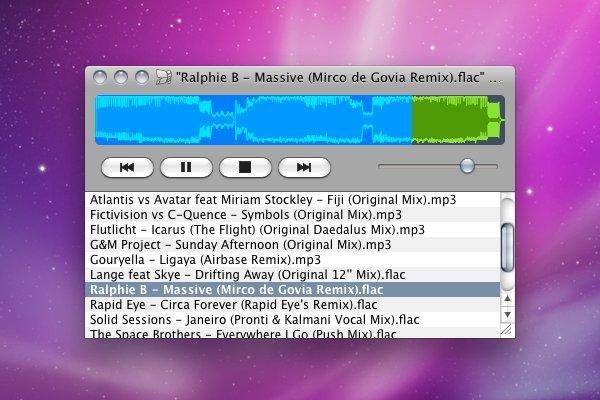 Nulloy 0.3.2, Mac OS X 10.6 Snow Leopard, Native Skin
