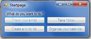 The Organise start screen