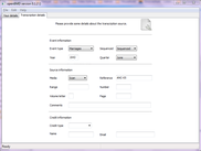 Transcription details page (Windows 7)