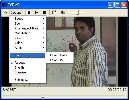 SVC menu in TCPMP player