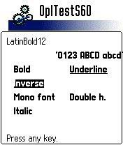 OPL running font test app on Series 60 phone