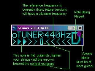 Explanation of how to use oTuner Open Source Guitar Tuner