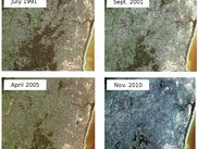 Satellite images showing deforestation in Madagascar moist forest