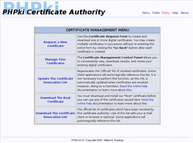 PHPki Digital Certificate Authority - SourceForge.net
