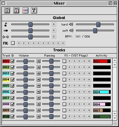 Mixer window with PP 5.9.8 on Mac OS Classic