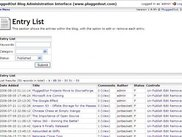 Blog - Administration Interface - Entry List