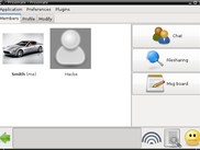 Proximate on Desktop Linux showing a list of active users