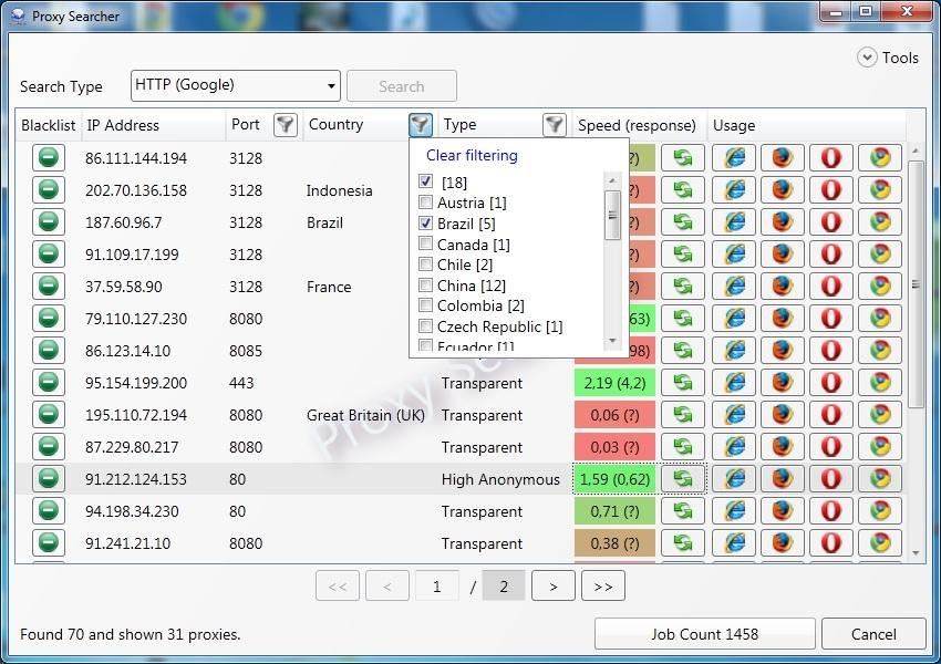 Proxy Searcher freeware screenshot