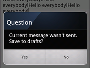 Save to Drafts dialog on back button pressed