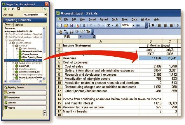 Dragon Tag supports element drag-and-drop to Excel worksheet