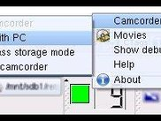 a context menu allows basic control of your camcorder.