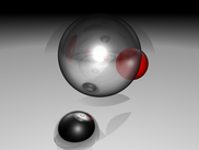 Plane and spheres example, with reflection and transparency