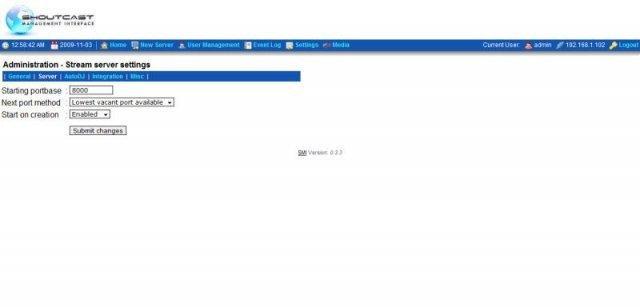 SMI 0.3.3 Stream server settings