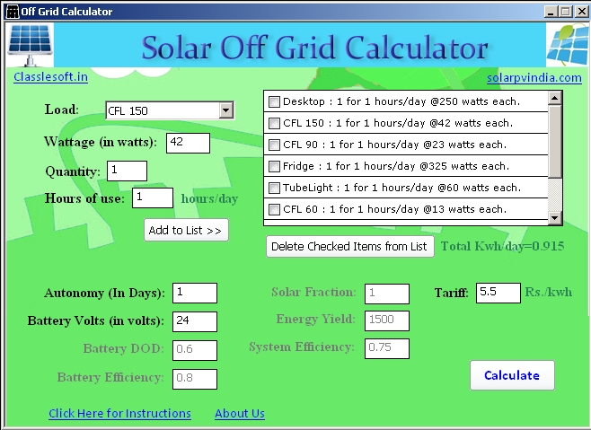 Solar Offgrid Calculator Sourceforge Net