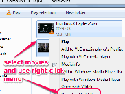 Select movie then right click to download