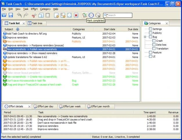 Main window with task list view