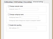 Main window - Advanced settings tab (TCP/IP Manager v4.0.0.22)