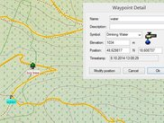 map with track and waypoint detail window