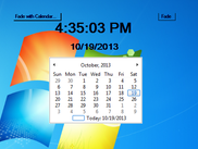 The clock is locked on the desktop with the calendar.