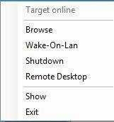 System tray dropdown menu