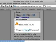 TransModal 0.0.4, test page, Safari 3.0