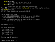 Invoking gdisk.efi and choosing a new disk to work on