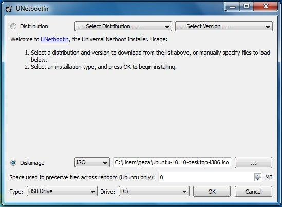 UNetbootin ISO file selection on Windows 7