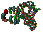 Coarse-grained RNA molecule PDB ID 3L0U with textured Hyperballs