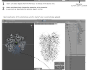 Screenshot montage illustrating the usage of the Unity3D editor