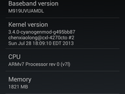 CyanogenMod 10.2 running on the SGH-M919
