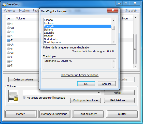 Choosing a new language for VeraCrypt GUI