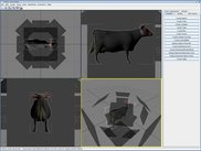 A 3D scene editor showing several object projections