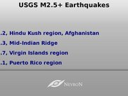 Fullscreen georss news displaying nearest earthquakes