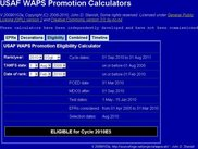 USAF WAPS Promotion Eligibility Calculator