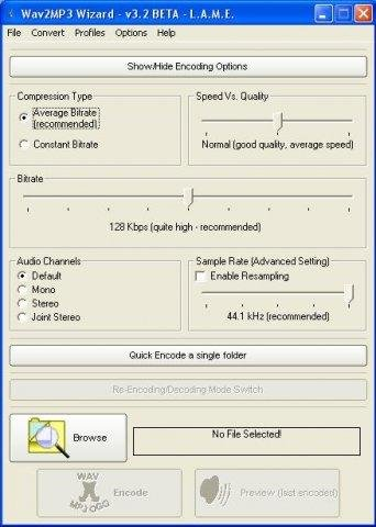 The Main Screen of Wav2MP3 Wizard