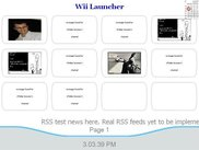 Main screen of the HTPC Wii Launcher with RSS feeds