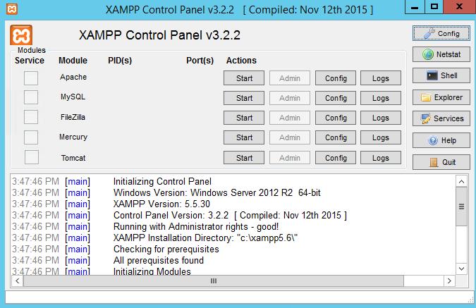 XAMPP full screenshot