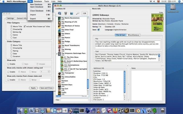 Main window and advanced search, OS X