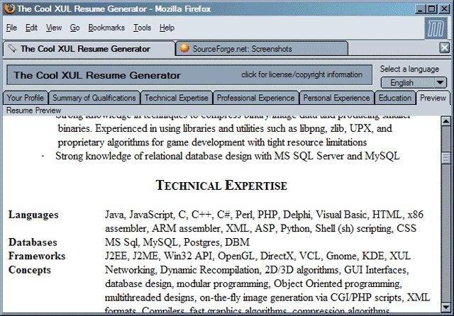 the cool xul resume generator
