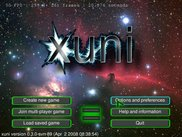 The main menu of the main test program for xuni