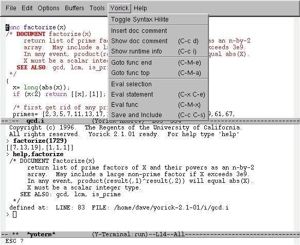 Yorick for Windows screenshot